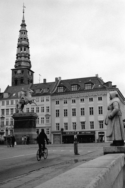 Absalon Statue & Fisherwoman at Højbro Plads, Copenhagen, Denmark, October 2007