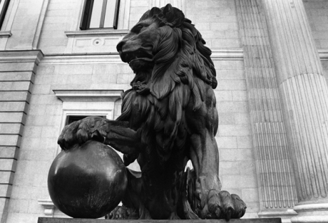 Lion at The Cortes, Madrid, Spain, January 2005