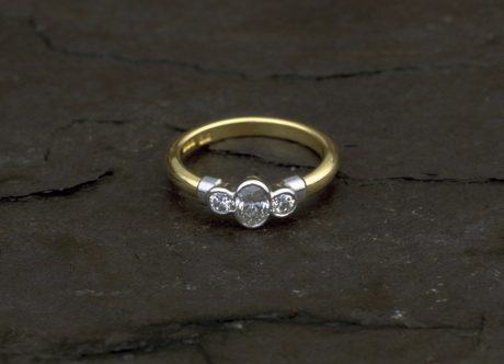 Gold & Platinum Ring set with Diamonds by Steven Bourke, 2002