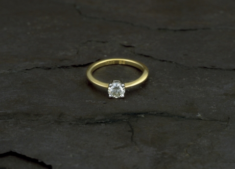 Gold Solitaire Ring set with Diamond by Steven Bourke, 2002