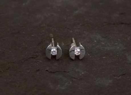Platinum Earrings with Diamonds by Steven Bourke, 2002