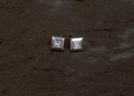 White Gold Earrings with Diamonds by Steven Bourke, 2002