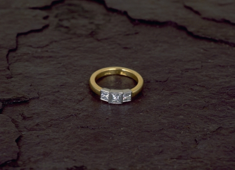 Gold & Platinum Ring set with Diamonds by Steven Bourke, 2003