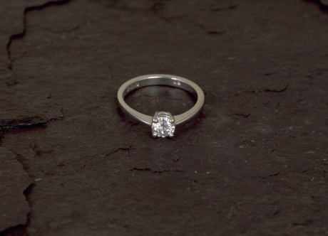 Platinum Solitaire Ring set with Diamond by Steven Bourke, 2003