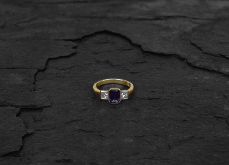Gold & Platinum Ring set with Sapphire & Diamonds by Steven Bourke, 2003