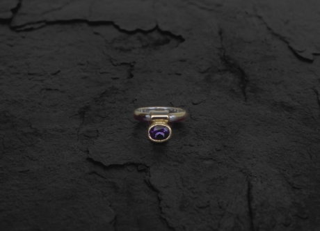 Gold and Platinum Ring set with Sapphire by Steven Bourke, 2003