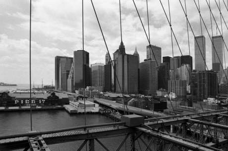 Manhattan from the Brooklyn Bridge, New York, America, April 1995