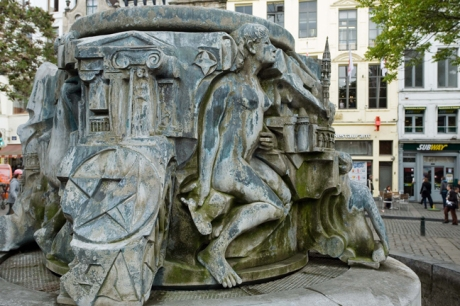 Fontaine Charles Buls, Agora Square, Brussels, Belgium, April 2011
