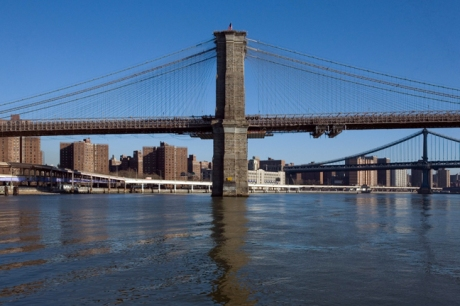Brooklyn Bridge from Seaport, Manhattan, New York, America January 2001