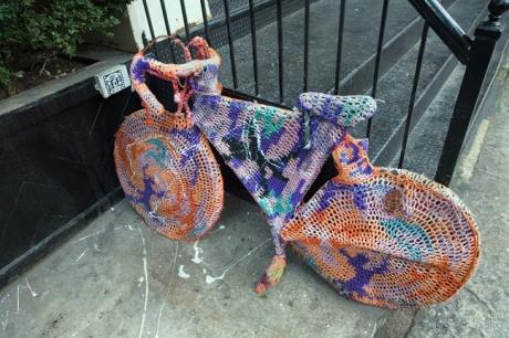 Yarn Bombing, East Village, Manhattan, New York, America,  January 2012