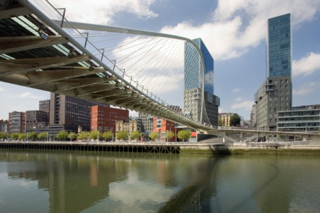 Ria del Nervion & Zubizuri footbridge, Bilbao, Spain, July 2013